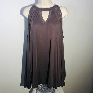 Maurices Top Taupe Cold Shoulder Long Sleeve Sz 1